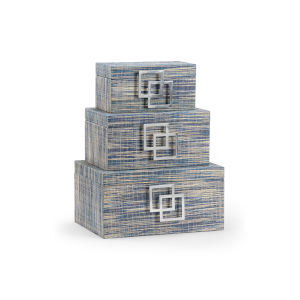 Gray 14-Inch Waterfront Boxes, Set of 3