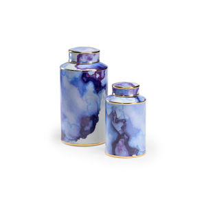 Blue 8-Inch Azul Pool Canister , Set of 2