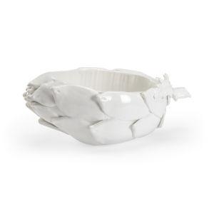 White 20-Inch Globe Artichoke Bowl