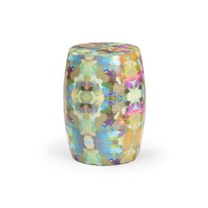 Multi-Colored 13-Inch Indigo Girl Ceramic Garden Seat