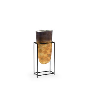 Black and Gold 7-Inch Ouray Glass Vase