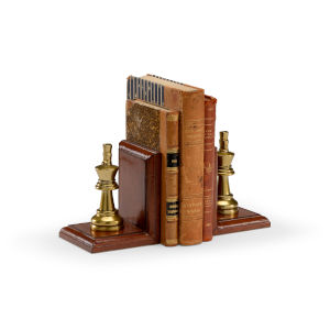 Brown 5-Inch Small Game Room Bookends Pair