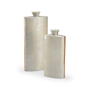 Silver 9-Inch on the Golden Edge Vases , Set of 2