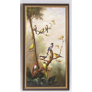 Black and Gold Song Birds Oil Paintings- A