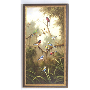 Black and Gold Song Birds Oil Paintings- B