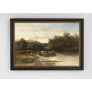 Black and Gold Riverboat Oil Painting