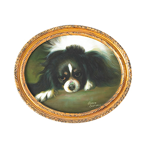 Gold King Charles Spaniel Oil Painting with Oval Frame