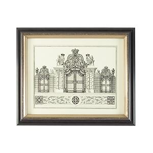 Black and Gold Grand Garden Gate I Print