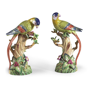 Multi-colored Parrot and Fruit Tree Figurines