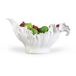 White Acanthus Leaf Bowl
