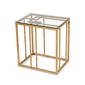 Matthew Frederick Gold Geometric Accent Table