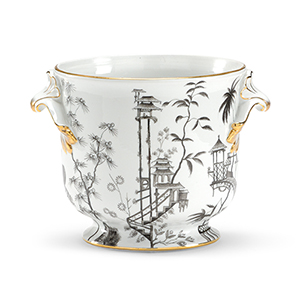 Black and White Floral Chinoisserie Vase