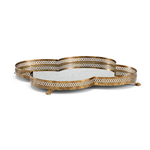 Lisa Kahn Gold Tracery Mirrored Tray