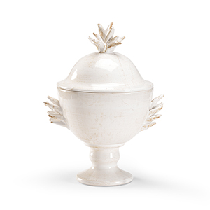 White Holland Covered Urn