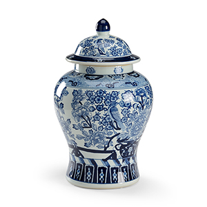 Blue and White Floral Covered Urn