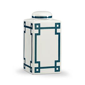 Lisa Kahn Navy Blue Parquetry Vase