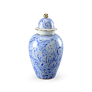 Blue and White Large Marbleized Covered Urn