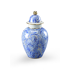 Blue and White Small Marbleized Covered Urn