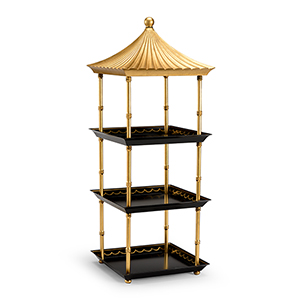 Bradshaw Orrell Black and Gold Pagoda Shelf