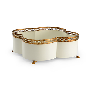 Lisa Kahn Gold and White Tracery Cachepot