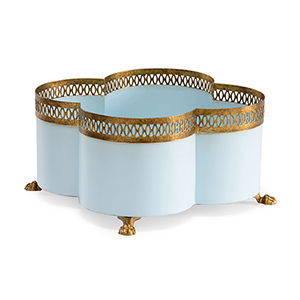 Lisa Kahn Gold and Light Blue Tracery Cachepot- Small