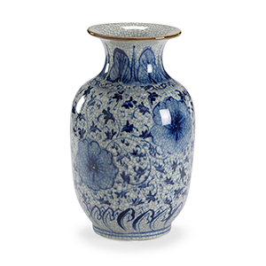 Blue and White Drayton Vase