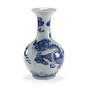 Blue and White Dragon Crackle Vase