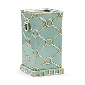 Bradshaw Orrell Mint Green and Silver Square Ring Vase