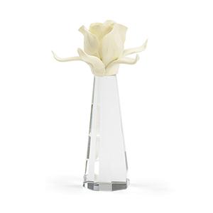 Melea Markell Cream Porcelain Rose on Clear Crystal Vase