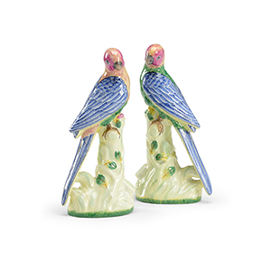Multi-colored Porcelain Birds- Pair