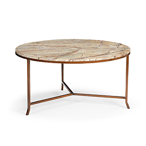 Tan and Brown Round Harvey Cocktail Table