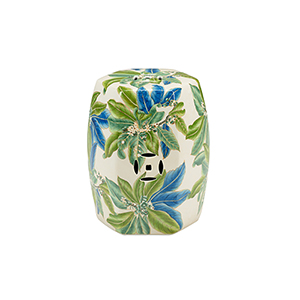 Off White, Green and Blue Floral Garden Seat