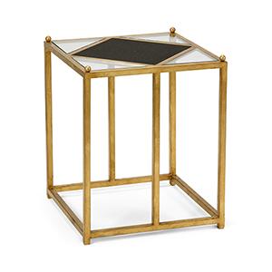 Jamie Merida Gold and Black Harlequin Side Table