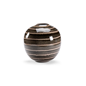 Beige, Brown and Black Striped Round Vase