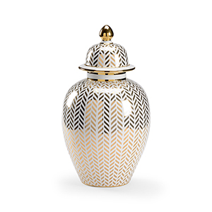 Claire Bell Gold Herringbone Covered Urn