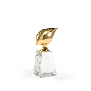 Brass Bird on Crystal- Small