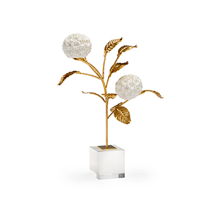Gold and White Small Hydrangea on Stand