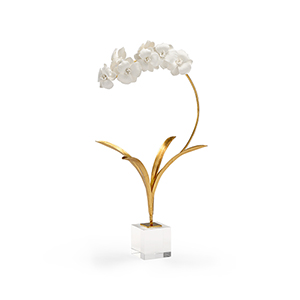 Gold and White Small Orchid on Stand