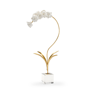 Gold and White Large Orchid on Stand