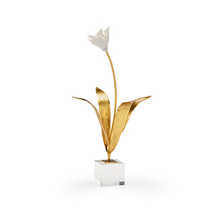 Gold and White Small Tulip on Stand