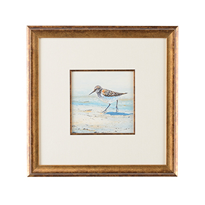 Lisa Kahn Gold Sand Piper II Watercolor Painting