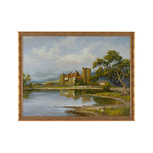 Brown Stokesay Castle Oil Painting
