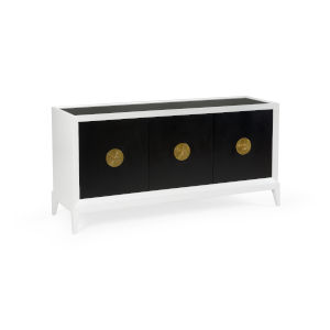 White and Black 65-Inch Beveled Sideboard