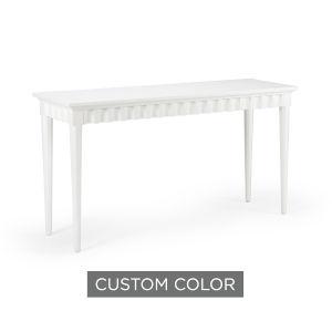 White 58-Inch Scallop Console Table