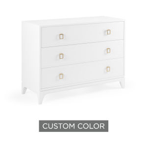 White 46-Inch Greek Key Chest