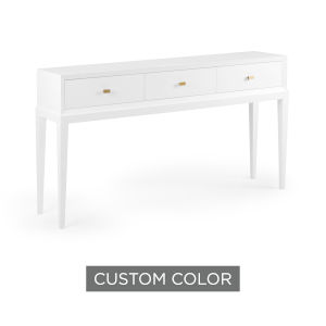 White 64-Inch Beveled Console Table