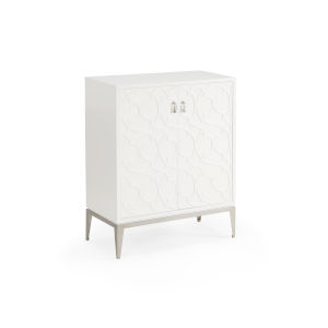 White 27-Inch Quatrefoil Cabinet