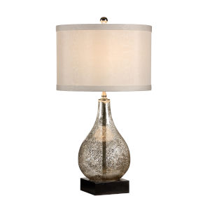 Bronze and Antique Silver One-Light 11-Inch Mercury Glass Lamp