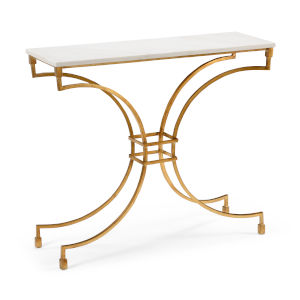 Kara Antique Gold and White Console Table