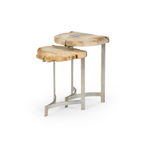 White and Gold 17-Inch Bedrock Nested Tables, Set of 2